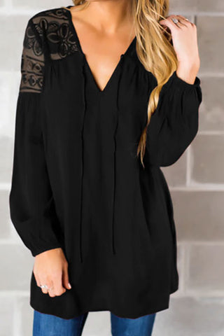 Sexy Off-Shoulder V Neck Lace Chiffon Blouses