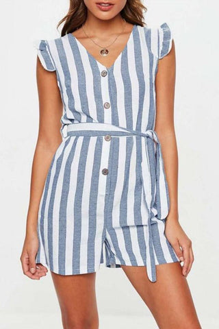V Collar Short Sleeves Cardigan  Frenulum Strip Mini Dress