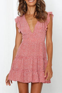 Sexy Deep V-Neck Wrinkle Polka Dot Printed Mini Dress