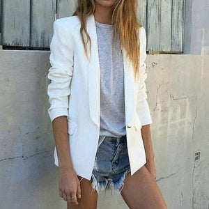 Autumn And Winter Simple Street Shot Small Suit Pure White Blazer Jacket