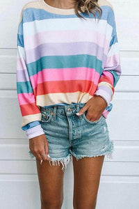 Fashion Striped Printed Long Sleeved T Shirt