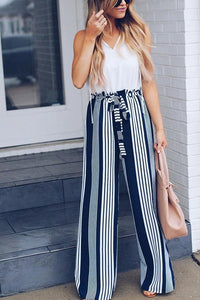 Loose Waist Loose Stripes Casual Straight Trousers