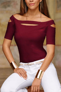 Off Shoulder Plain T-Shirts