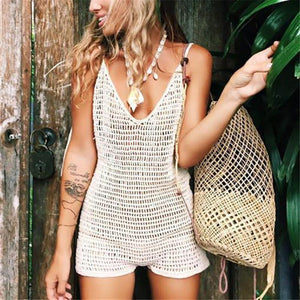 Sexy Solid Color Hollow Out Knitting One-Piece Swimsuit