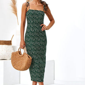 Sexy Sling Printed Colour Wrap Chest Beach Vacation Dresses
