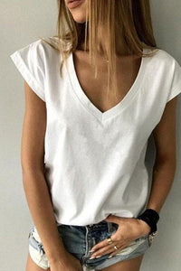 V Neck  Loose Fitting Plain Short Sleeve T-Shirt