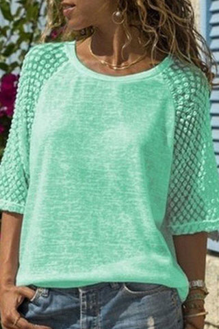 Lace Stitching Round Neck Cropped Short Sleeve T-Shirt