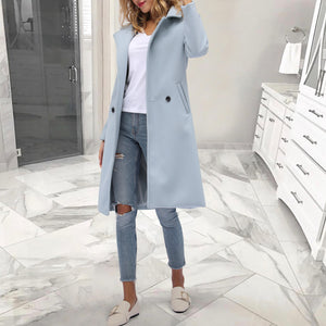 Fashion Solid Color Lapel Collar Outerwear Long Wool Coat