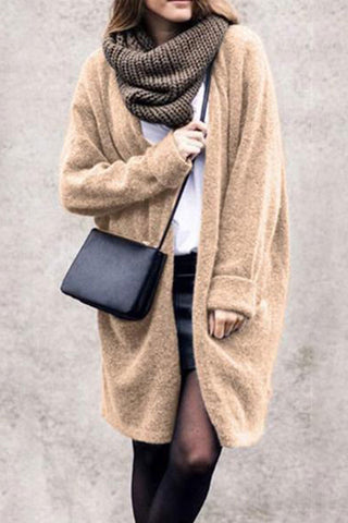 Casual Pure Color Long Sleeve Loose Knit Cardigan