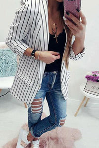 Fashion Stripes Long Sleeve Casual Blazers Jacket