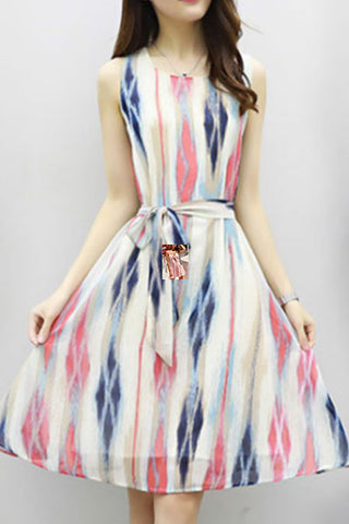 Round Neck  Belt  Color Block Printed Skater Dress