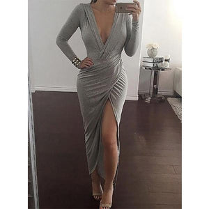 Surplice  Asymmetric Hem Cutout High Slit Lightweight Patchwork Ruffled Hem  Plain Evening Dresses