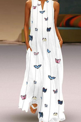 Butterfly Printed Casual Maxi Dress