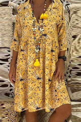 Ethnic Style V Collar 3/4 Sleeves Floral Printed Casual Dresses