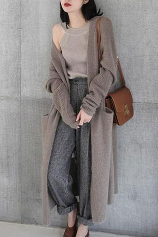 Pure Color Long And Loose Sweaters Cardigan