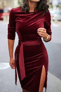 Fashion Velvet Pure Colour Round Neck Belted Bodycon Dresses