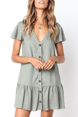 V Neck  Single Breasted  Plain  Short Sleeve Casual Mini Dresses