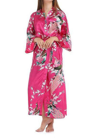 Pajama Peacock Print Super Long Pocket Home Service