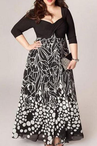 Plus-Size Sexy Print Maxi Dress