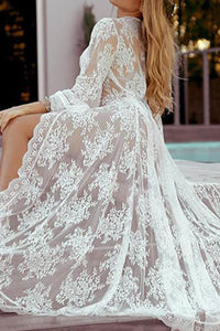 Vacation Sandbeach  Sexy Lace Cardigan Maxi Dress