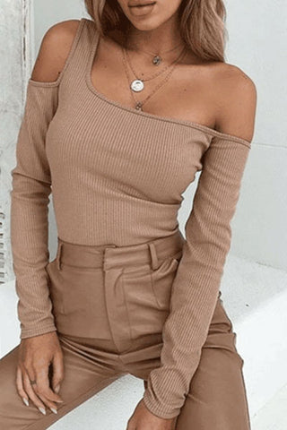 Sexy Off Shoulder Plain T-Shirts