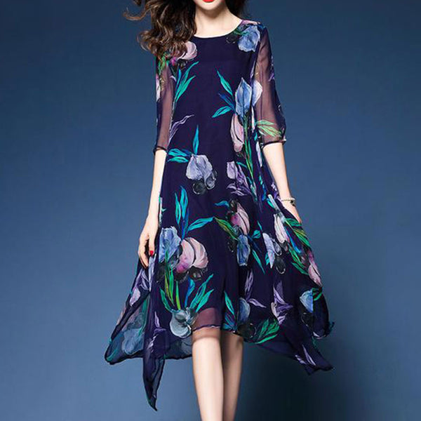 Asymmetric Hem Floral Hollow Out Skater Dress
