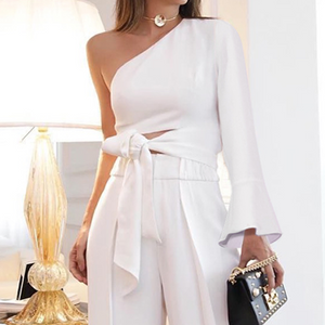 Fashion Pure Colour Off-Shoulder Jumpsuit