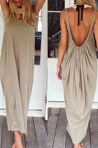 Open Back Full Length Sundress Maxi Casual Dress