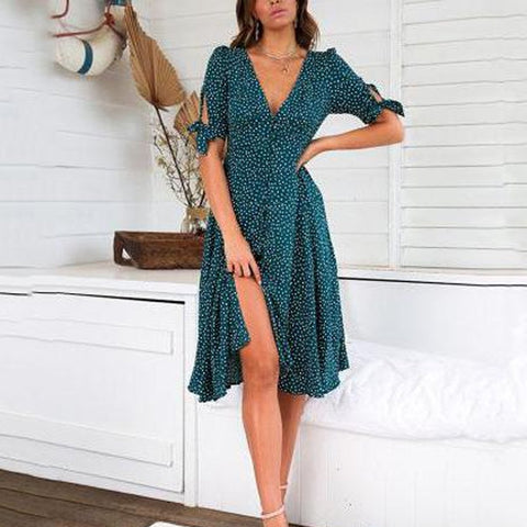 Fashion Print Polka Dot Button Vacation  Dress