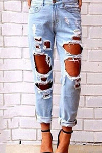 2018 Fashion Sexy Hole Denim Jeans Denim Pants
