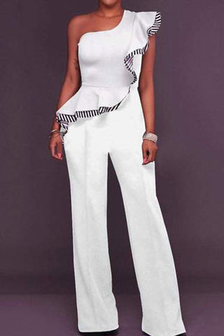 Casual Off-Shoulder High-Waist Broad Leg Jumpsuits