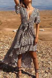 2019 New Sexy Deep V Collar Leopard Printed Chiffon Irregular Vacation Maxi Dress