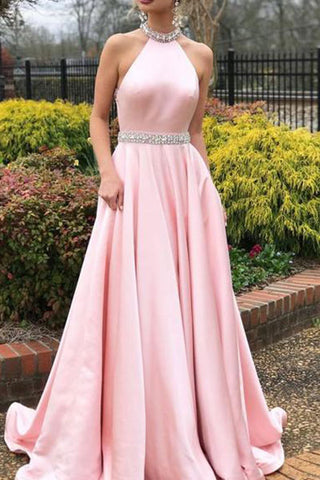 Sleeveless Halter Halter Evening Dress