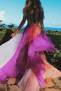 Bohemian Splicing Contrast Color Pleated Chiffon Maxi Dress