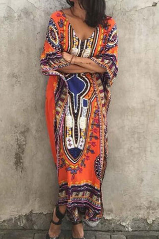 Bohemian Loose Bat Sleeve Maxi Dress