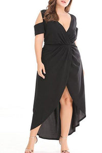 Plus-Size Solid Color Irregular Off Shoulder Maxi Dress