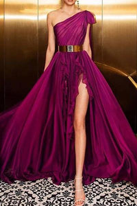 Elegant Irregular Belted Ruffled Sloping Shoulder Evening Dress