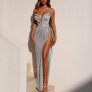 Sexy tube top solid color high slit Evening Dress