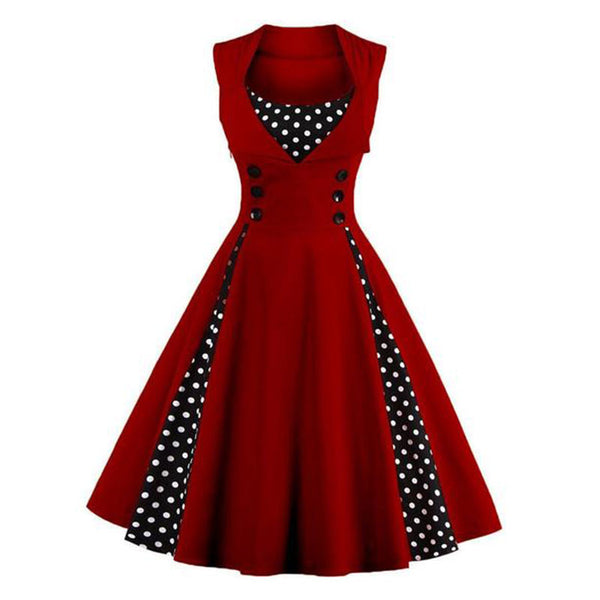 A Line Polka Dot With Cotton Lapel Plus Size Skater Dress