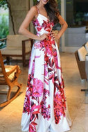 Fashion Sleeveless Floral Print Maxi Evening Dress