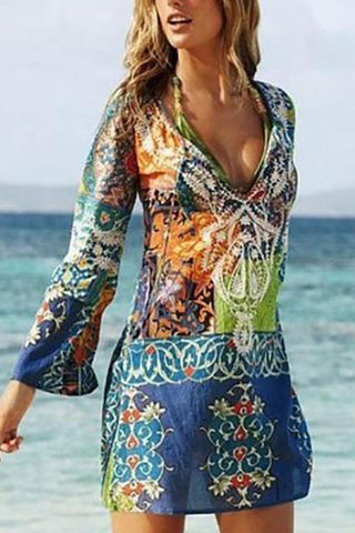 Deep V-Neck  Cutout Contrast Stitching  Abstract Print  Bell Sleeve Casual Dresses