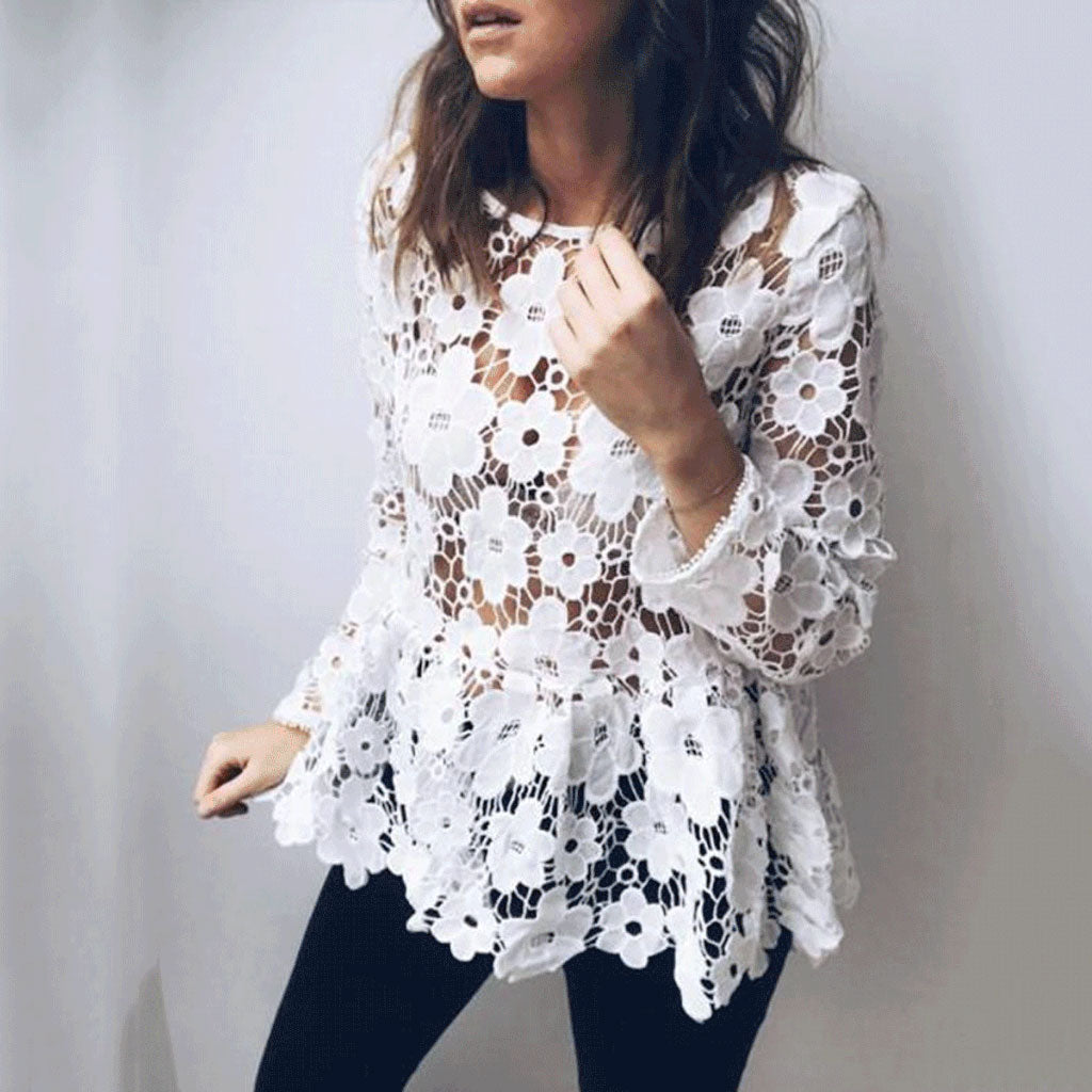 Fashion Pure Lace  Hollow Blouses
