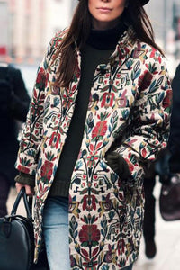 Explosive Print Small Stand Collar Coat