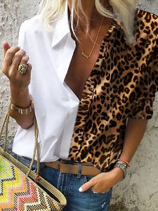 Fashionable lapel leopard print splicing T-shirt