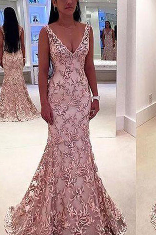 Fashion Deep V-Neck Backless Lace Evening Dress