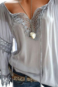 Tie Collar Hollow Out Blouses With Decorative Lace