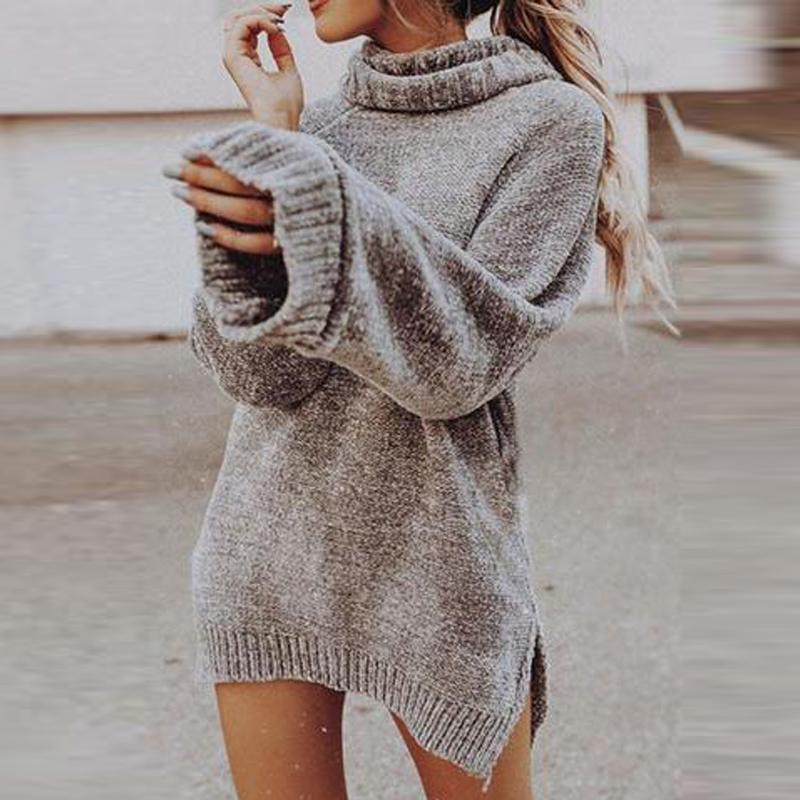 Cowl Neck Solid Color Sweater Dresses