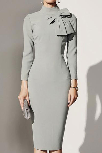 Crew Neck Bowknot Plain Bodycon Dress