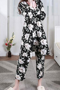 Pajamas Cotton Long-sleeved Loose Three-piece Suits