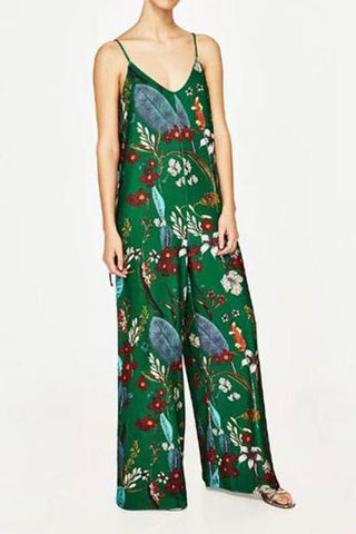 Fashion Joker Slim Thin Casual Harness Flower Print Floral Jumpsuit Rompers